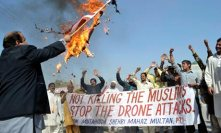 Anti-drone rally held by mainstream political party in Pakistan.